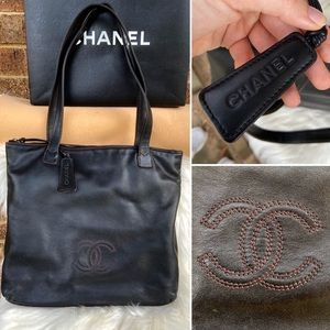 Chanel Black Leather Calf Monogram Tote